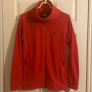 Red Adidas Fleece Zip-Up Jacket